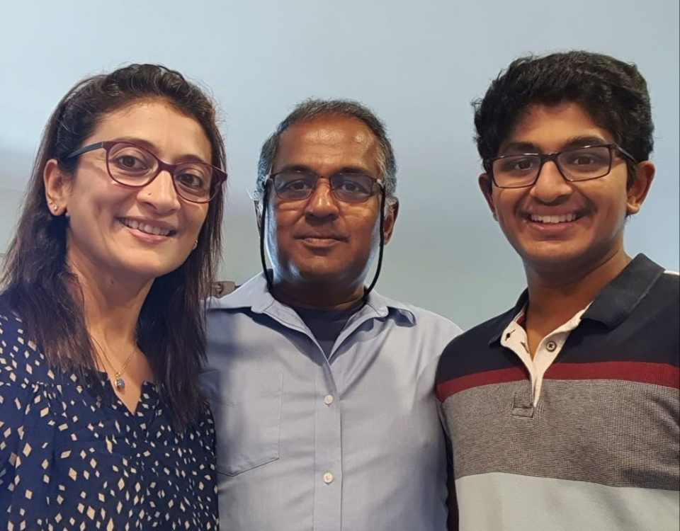 V.A. Mathew with his wife and son
